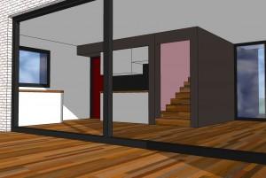 Vue sur cuisine et escalier
